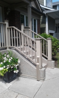 Stairs with wooden railings